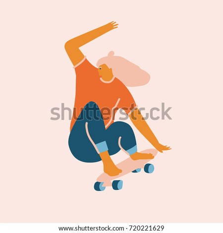 Young girl skating illustration in vector