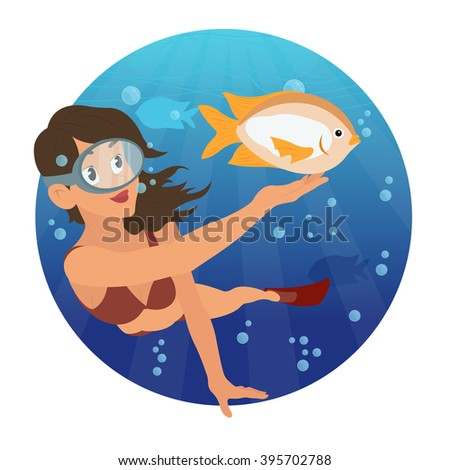 young girl snorkeling and watching the beautiful fish. woman has been diving in the sea. vector illustration. diving icon, diving pool,  swimming,  scuba diving,  olympic diving,  underwater - stock vector