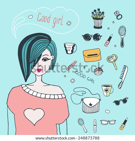 Young girl stylishly dressed. Fashion vector illustration. Hand draw - stock vector