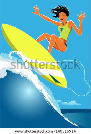 Young girl, tanned and slim, surfing on a wave, smiling