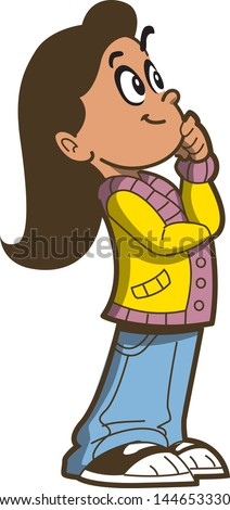 Young Girl Thinking About Something Or Trying To Remember - stock vector