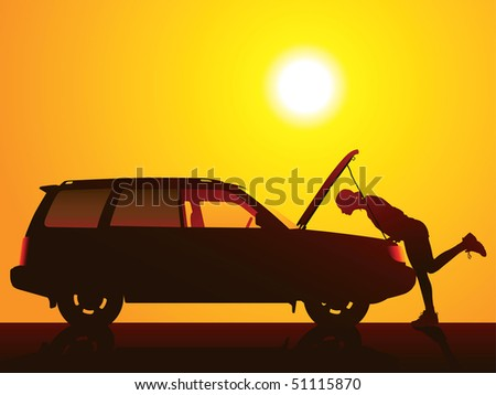 Young girl with and broken car. - stock vector