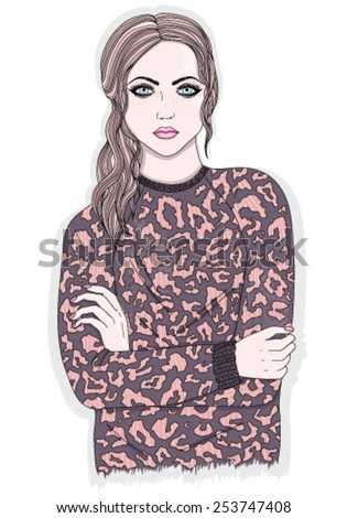 Young girl with animal print jumper. Fashion illustration - stock vector