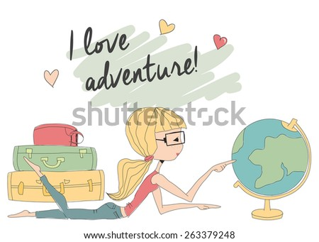 Young girl with glasses looking at world globe, vector illustration - stock vector