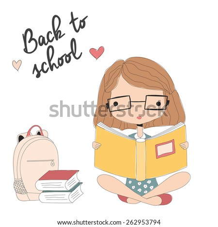 Young girl with glasses reading a book, back to school, vector illustration - stock vector