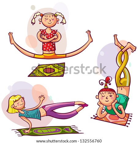 Young girls in yoga poses. Fitness woman club - stock vector