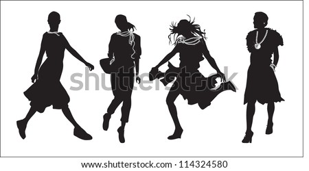 young girls (silhouette figure jump)