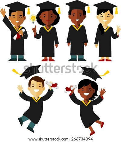Young graduates different ethnic woman and man character isolated on white background - stock vector
