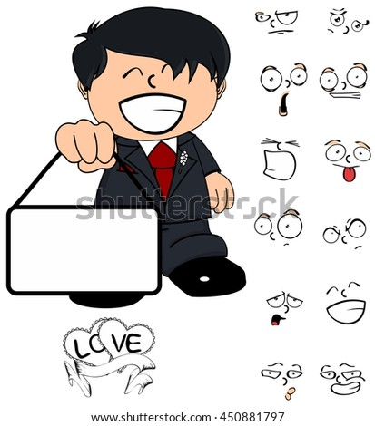 young groom kid cartoon expressions set in vector format very easy to edit
