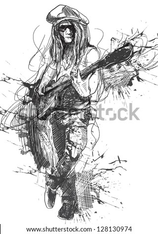 Young guitar player in expressive outlines and grungy spots. /// Vector description: contours in shades of gray and black, editable in 6 layers. - stock vector