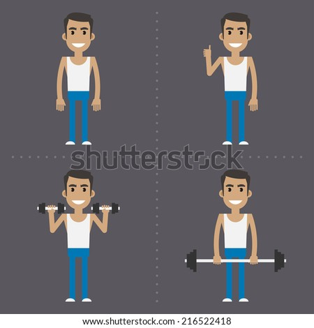 Young guy goes in for sports - stock vector