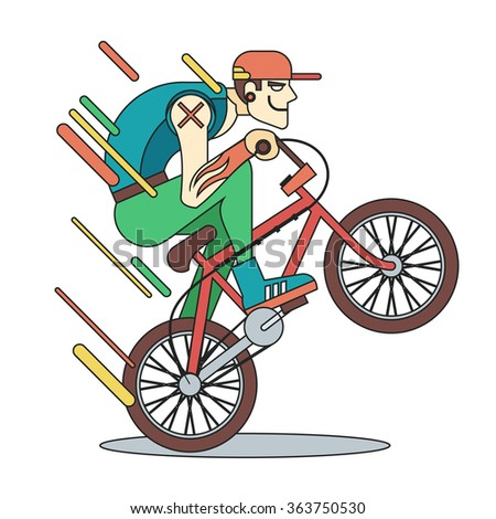 Young guy on bicycle. Vector flat line illustration - stock vector