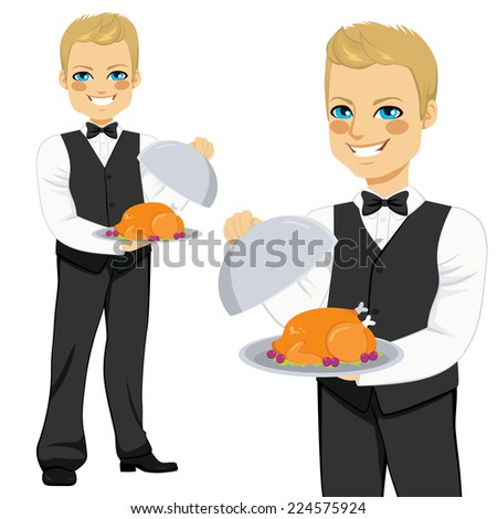Young handsome blond waiter with tray serving roasted poultry - stock vector