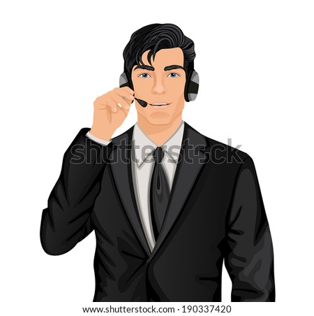 Young handsome customer service representative man in formal suit with headphones set vector illustration - stock vector