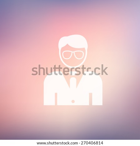 Young handsome man icon in flat style for web and mobile, modern minimalistic flat design. Vector white icon on gradient mesh background - stock vector