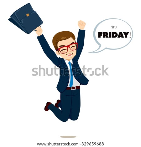 Young happy businessman jumping happy with white bubble speech with it's Friday text - stock vector