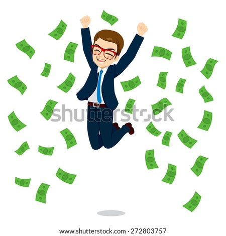Young happy businessman jumping surrounded by green dollar money bills falling