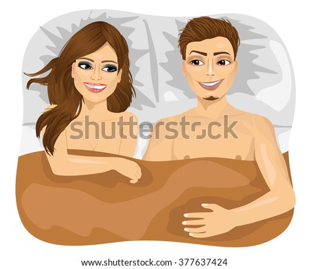 young happy couple in bed - stock vector