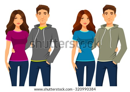 young happy couple in casual outfit - stock vector