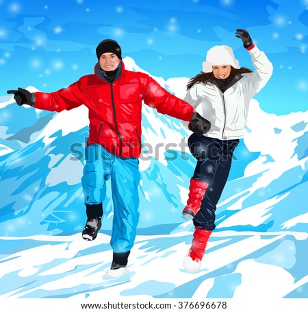 Young happy couple jumping on winter mountains background