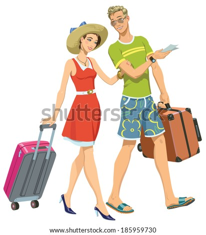 young happy family going on vacation - stock vector