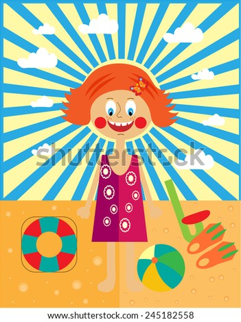 Young happy, ginger girl, playing on a beach