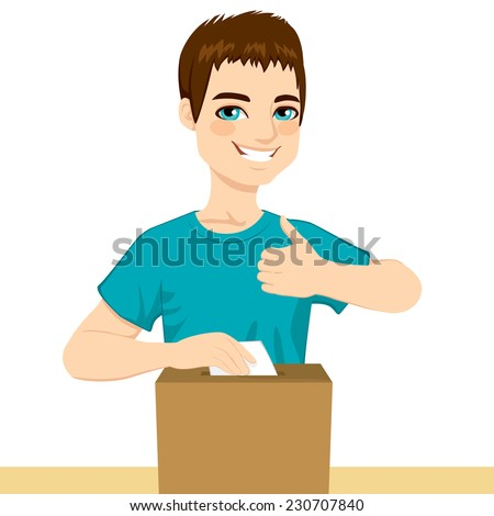 Young happy man voting on political decision inserting ballot on poll box and with thumb up on elections day - stock vector