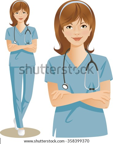 Young health care professional wearing blue scrubs, with a stethoscope around her neck. Vector illustration