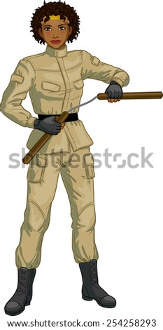 Young healthy African American girl armed with nunchuck in military uniform vector illustration colored lineart