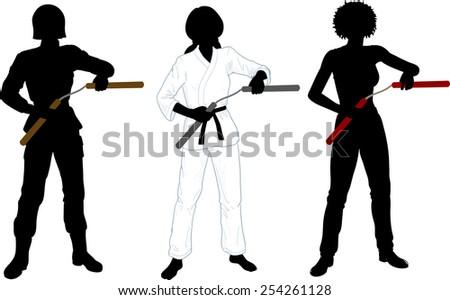 Young healthy girl armed with nunchuck in uniform vector illustration set of silhouettes - stock vector