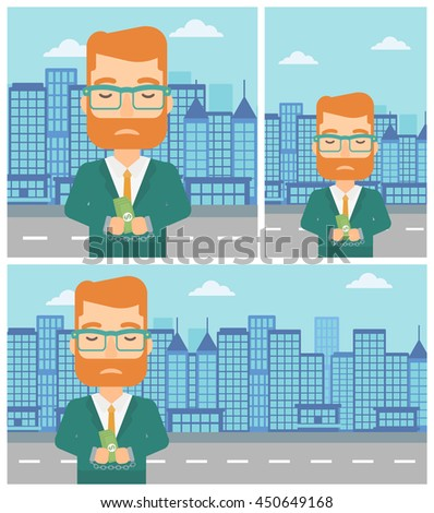 Young hipster businessman in handcuffs with money in hands on the background of modern city. Businessman handcuffed for crime. Vector flat design illustration. Square, horizontal, vertical layouts. - stock vector