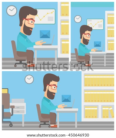 Young hipster businessman working on his laptop in office and receiving or sending email. Business technology, email concept. Vector flat design illustration. Square, horizontal, vertical layouts. - stock vector