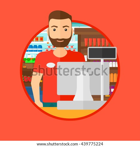 Young hipster cashier with the beard standing at the checkout in supermarket. Male cashier working at checkout in supermarket. Vector flat design illustration in the circle isolated on background. - stock vector