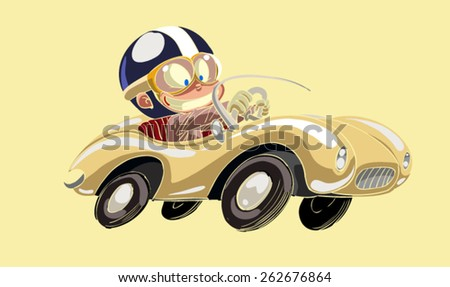 Young kid driving a race car - stock vector