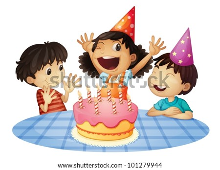 Young kids at a birthday party - stock vector