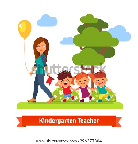 Young kindergarten teacher walking in park with kids holding hands in trail. Flat style vector cartoon illustration. - stock vector