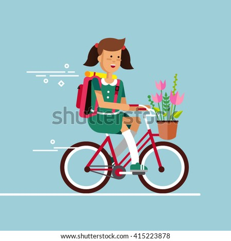 Young lady having fun riding bicycle with basket of flowers. Kid having free time on weekend. Summer break outdoor recreation for junior. Happy girl riding bike. Vector character - stock vector