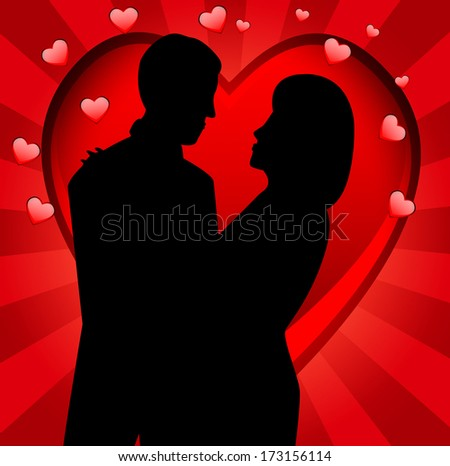 young loving couple on a background a heart,vector illustration