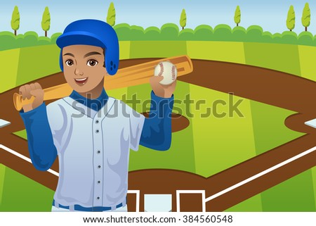Young male baseball player standing in front of a baseball field, vector illustration. - stock vector