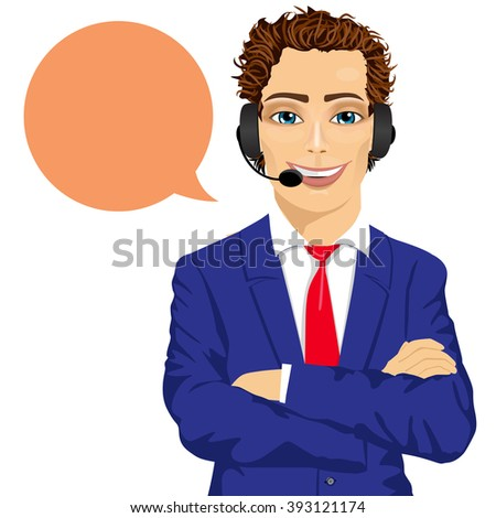 young male customer support phone operator with arms folded and speech bubble