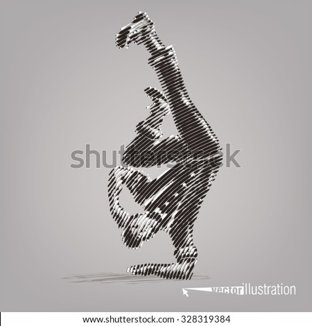 Young male dancer stands on a hand. Vector artwork in the style of ink drawing - stock vector