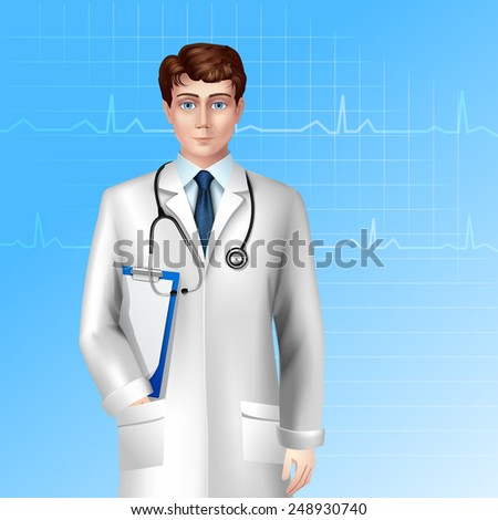 Young male doctor standing with stethoscope and clipboard poster vector illustration - stock vector