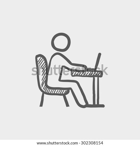 Young man and laptop sketch icon for web and mobile. Hand drawn vector dark grey icon on light grey background. - stock vector