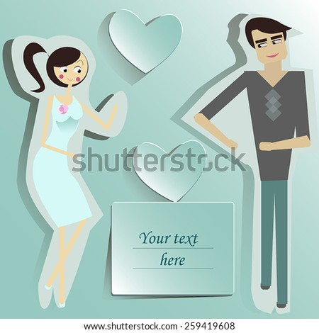 Young man and woman dancing. - stock vector