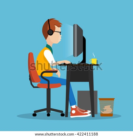 young man at the computer vector illustration