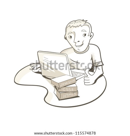 Young man at work - stock vector