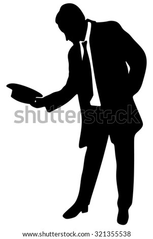 young man - businessman with hat and tie say welcome, isolated on white background - stock vector