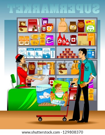 young man carries a shopping cart to the checkout - stock vector