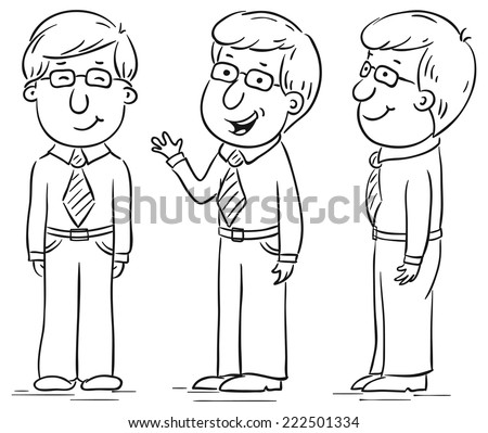 Young man cartoon character at different angles - stock vector
