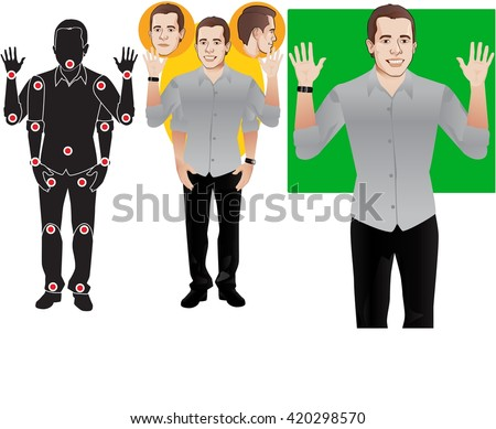 Young man cartoon character in formal blue shirt, animation ready vector doll with separate joints. Gestures and expressions. Articulation points demonstration. - stock vector